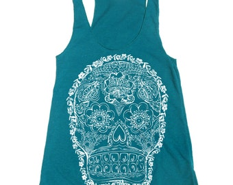 Women's DAY Of The DEAD 2 -hand screen printed Tri-Blend Racerback Tank Top xs s m l xl xxl  (+Colors) workout
