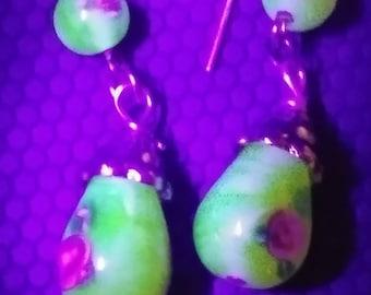 The Vaseline Collection - Lampwork drop earrings