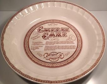 Royal China Co. Cheese Cake Recipe Plate