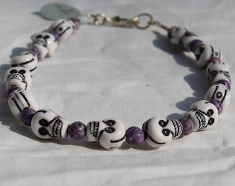 Purple Fossil Stone and Skulls Bracelet