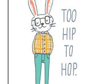 Hipster Bunny- Art Print  5x7, 8x10, 11x14