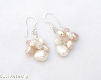 White pink peach freshwater pearl earrings with crystal and stone on silk thread - sterling silver ear wires, bridal, dangle