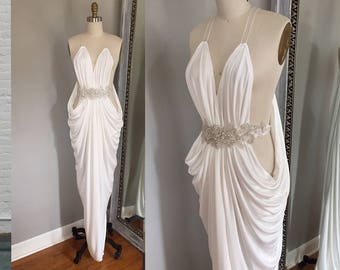 Sexy Wedding Dress, white prom dress, ivory prom dress, grecian prom dress, grecian wedding dress, second wedding dress