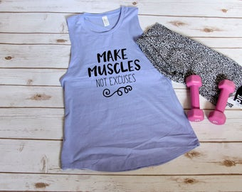 Make Muscles Not Excuses Workout Muscle Tank | S-2XL