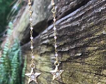 Dainty Orange Moonstone dangle earrings with star charms
