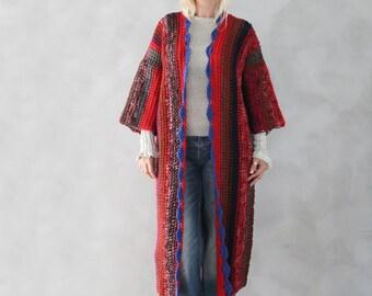 Long Cardigan Bohemian Cardigan Hand Knitted Boho Cardigan Ethnic Kaftan Gift for Her Womens Knit Cardigan Red Cardigan Gift for Her