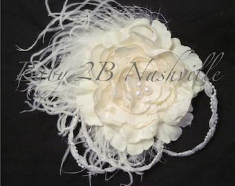 Wedding Hairpiece ,Wedding Fascinator, Handmade  Cabbage Rose, Feather Fascinator, Ivory and White Bridal Flower