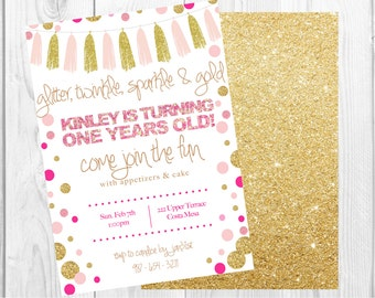 Glitter, Sprinkle, Sparkle and Gold Custom Birthday Printable Invitation | Pink and Gold Birthday Invitation | First Birthday Invitation