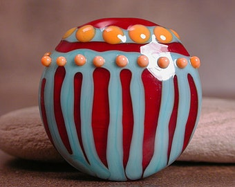 Artisan Glass Focal Bead, Lampwork Focals, Striped Beads, Deep Red, Turquoise Blue, Orange, Divine Spark Designs SRA