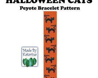 Peyote Bracelet Pattern - Halloween Cats - INSTANT DOWNLOAD PDF - One Drop Even Peyote Stitch - Black Cats Pattern - Peyote Cats Pattern