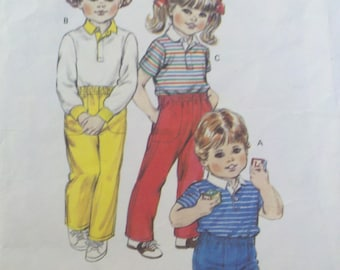 Vintage 1980s Toddler's Shirt and Pants Toddler sizes 1,2,3,4, KWIK SEW  1379