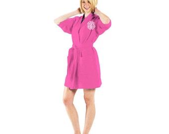 Monogrammed Robe - Waffle Weave - Bridesmaid Robe - Knee Length Kimono Robe