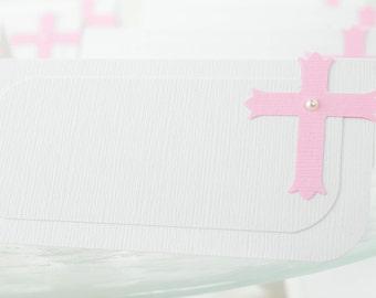 Cross Tent Place Card, Food Label, Dessert Labels, Baptism Place card, Girl Baptism