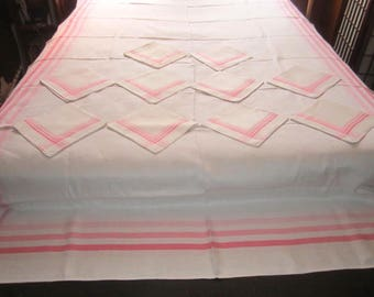 Vintage Pristine White with Pink Stripe Linen SET 64x92 Tablecloth and 10 Matching Napkins