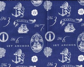 Navy Nautical Anchors Curtain Valance