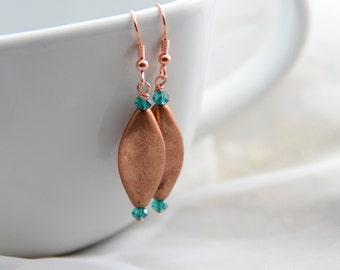 Copper and Aqua Earrings