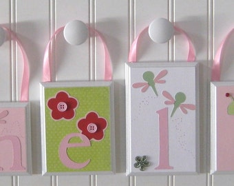 Nursery Name Decor . ROUTED EDGE . Baby Name Blocks . Hanging Name Letters . Childrens Room Decor . M2M Lady Bug Bedding