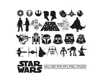 Star Wars SVG Star Wars Clipart SVG Star wars for Silhouette Cameo or Cricut Star wars vector darth vader yoda kylo ren storm trooper r2d