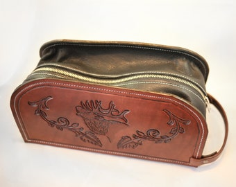 hand tooled leather Shaving Bag