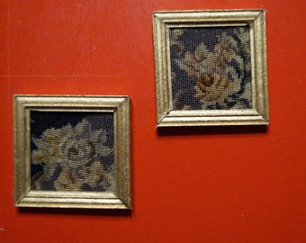 Dollhouse Miniature Framed Micro Petit Point--Pair of Antique Neoclassical Roses