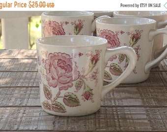 ON SALE Vintage Johnson Brothers Rose Chintz Coffee Mug, English Ironstone China, Bridesmaid Luncheon, Tea Parties Ca 1930s