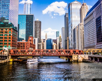 Chicago Photo Print of Chicago River Wells Street Bridge - Chicago Large Prints, Metal Wall Art, Oversized Home Decor, Fine Art Canvas Print