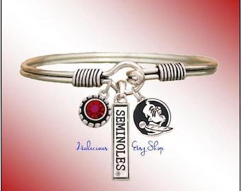 FLORIDA State SEMINOLES Bangle BRACELET University College Jewelry Garnet Red Crystal Charms Silver Pendants