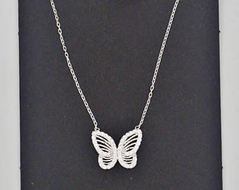 Dainty Delicate Minimalist Sterling Silver Tiny Butterfly Cubic Zirconia Necklace