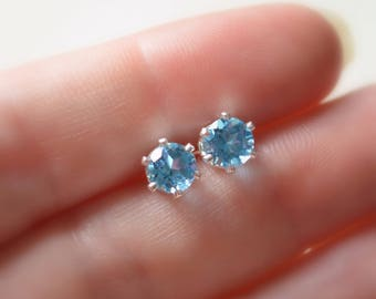 Swiss Blue Topaz Stud Earrings, Sterling Silver Ear Posts, Bright Blue, Real Gemstone Jewelry, 6mm, Simple Studs, Free Shipping