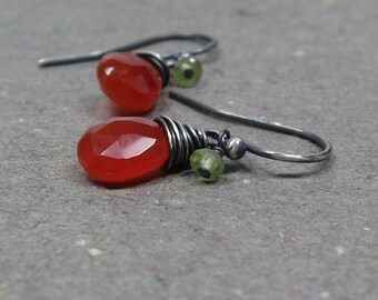Carnelian, Peridot Earrings Orange, Green Gemstones Petite Small Oxidized Sterling Silver Gift for Her