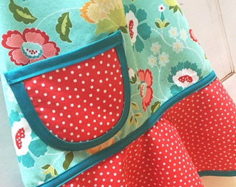 Teal & Red Floral Girls Apron, Kids Apron, Apron for Kids, Toddler Apron, Kitchen Apron, Red, Aqua, Yellow Apron  - TEAL RED FLORAL