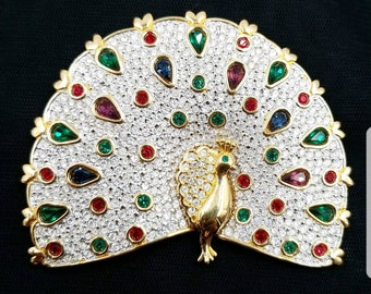 Signed SAL Swarovski HUGE Peacock Brooch, Retired Rare 1980's Swarovski Jeweled Peacock Pin, Crystal 1980s PEACOCK Bejeweled Brooch