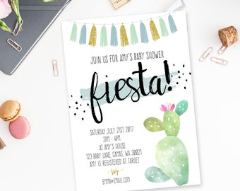 Baby Shower Invite, Fiesta Shower Theme, Baby Boy shower, cactus and succulent theme, party invitation, printable invite