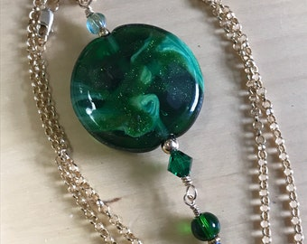 Emerald City lampwork charm necklace