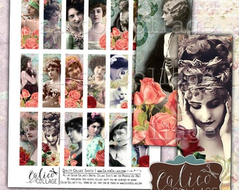 Beauty in Roses, Collage Sheet, 1x3 Images, Microslide Images, 1x3 Collage Sheets, Printable Ephemera, Boho Collage Sheet, Digital Collage