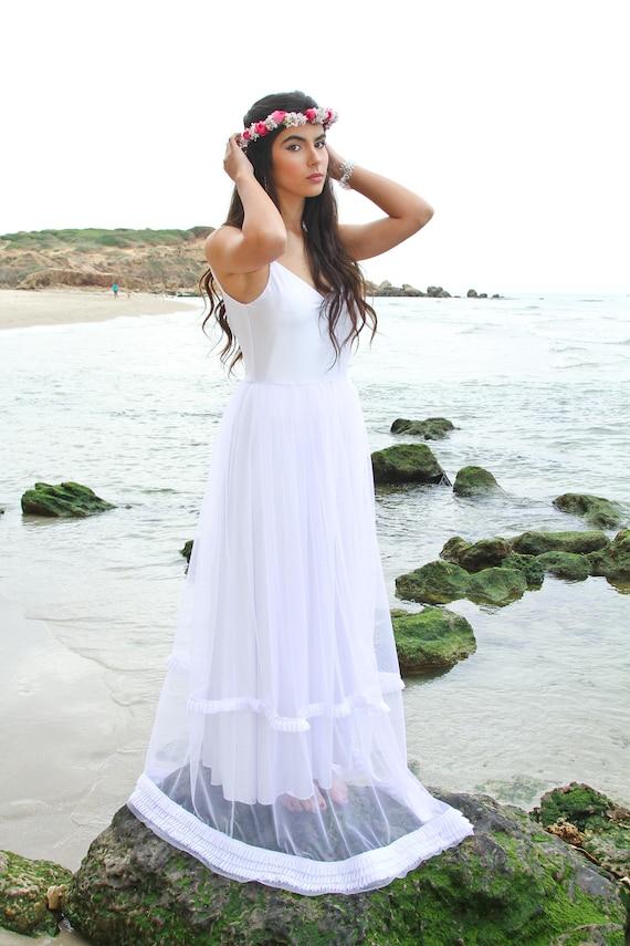 Dress Wedding Dress Wedding Wedding Wedding Boho White Tulle Dress Wedding White Dress Gown Dress Long Bridal Beach Dress Wedding XrwzUXqA