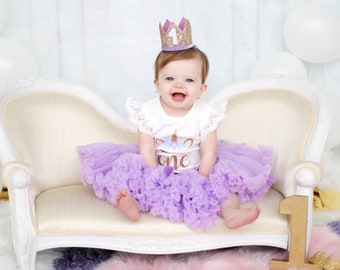 First Birthday Crown   1st Birthday Girl Outfit for Cake Smash   Baby Girl First Birthday Outfit   1st Birthday Hat   Gold Purple White
