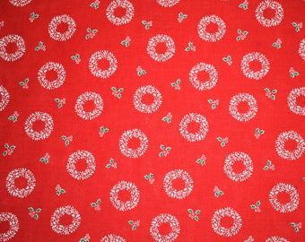 Red Christmas Wreath Quilting Fabric, Vintage Christmas Fabric, Quilting Fabric, Vintage Quilting Fabric, Red Christmas Quilting Fabric