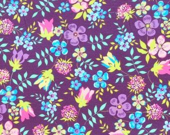 Liberty fabric Tana Lawn Edenham- 9''x26'' Fat Eighth Purple,Blue- 2015 Classic Collection
