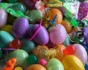 50 Toy Filled Small Plastic Pastel Colored Easter Eggs - Assortment of Toys in Each Egg