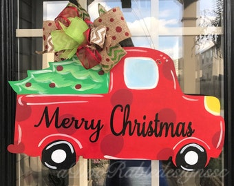 Merry Christmas Classic Red Truck