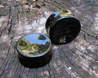 "Pair Black Obsidian Double Flared Saddle Concave Circular Shape Plugs 8mm 0G 10mm 1/2"" 16mm (5/8"") 18mm (11/16"") 25mm (1"") 28mm 32mm 35mm"