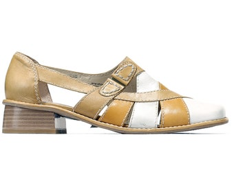 US 8.5 Pleated Shoes 90s Flats Vintage Slide On Sandals Three Tone Leather Flats Anti Shock Flexible Sole Women Footwear . Eur 39 Uk 6