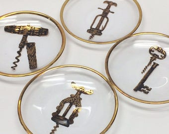 Set Four Glas Hors d'oeuvre Plates Cork Screw Image Vintage 1950s Party Plates Wine