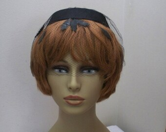 Vintage Black Halo Hat with Black Veil and Leaf Cut-Outs