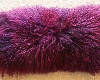Mongolian lamb fur pillow Tibetan genuine Fur 16x20 Raspberry
