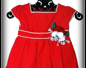 Girls Rockabilly Dress in Red & White and Skulls n Bones.... Size 18 months