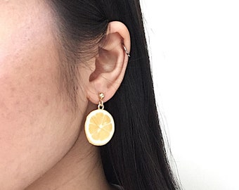 CIRCLE LEMON EARRINGS - boho earrings - circle earrings - gold geometric earrings - gift for her - fruit earrings - blcksheepstudios