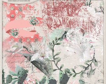 Cacti And Succulent, Southwest Decor, Overlays For Digital Scrapbooking, Artistic Transfers, Vintage Orchid Flower, Mexican Landscape