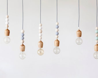 Wooden beaded pendent lighting - grey and natural. Wood Lighting, ceiling lighting, wood pendant light, dining room lighting